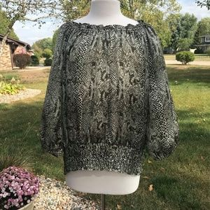 Violet & Claire Long Sleeve Animal Print Top 2X
